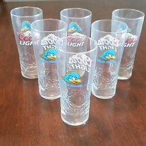 6 University of Delaware Coors Light Glasses